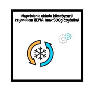car78.pl Napełnienie układu klimatyzacji czynnikiem R134A. (max.500g czynnika)